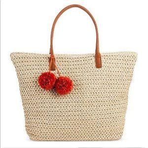 Merona Natural Pom Pom Straw Bag